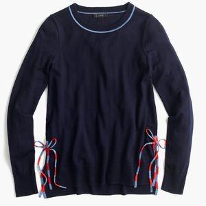 J. Crew Navy Blue Side Slit Sweater w Striped Ties